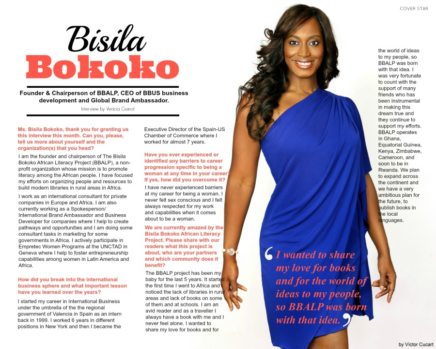 Cover Star: Ms. Bisila Bokoko (Founder & Chairperson of BBALP, CEO of BBUS business development and Global Brand Ambassador). Photography: Victor Cucart. Graphic Design: Vénicia Guinot Pro Courtesy of Tropics Magazine.
