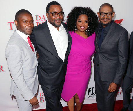 "David Oyelowo, director Lee Daniels and actors Oprah Winfrey and Forest Whitaker attend the premiere of the Weinstein Company's ""Lee Daniels' The Butler"" at Regal Cinemas L.A. Live on August 12, 2013"