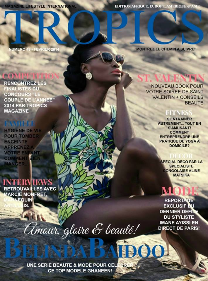 top model belinda baidoo covers tropics magazine february. Black Bedroom Furniture Sets. Home Design Ideas